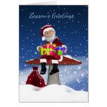Santa On A Mushroom, Christmas Holiday Greeting Ca Greeting Cards