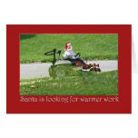 Santa on a riding lawn mower  landscaper greeting card