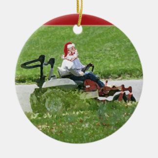 Santa on a riding lawn mower  landscaper ceramic ornament