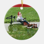 Santa on a riding lawn mower  landscaper christmas ornaments