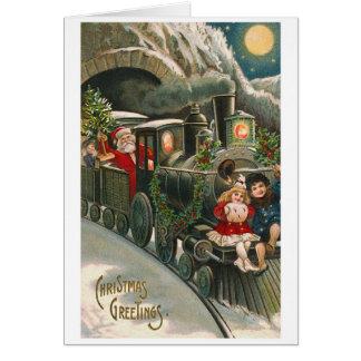 """""""Santa on a Train"""" Vintage Christmas Card"""