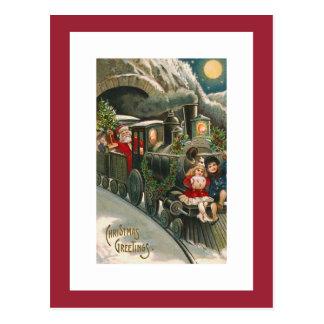 Santa on a Train Vintage Christmas Postcard