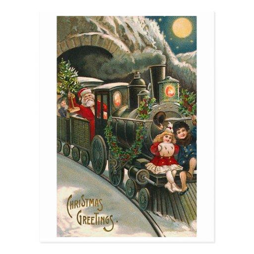 """Santa on a Train"" Vintage Christmas Postcard"
