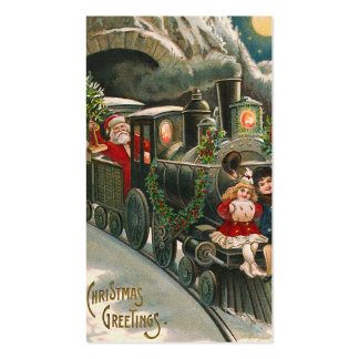 """Santa on a Train"" Vintage Gift Tag Business Card"