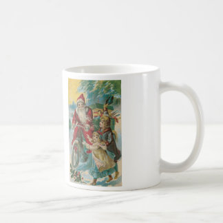Santa on Bicycle Cross Stitch Coffee Mug