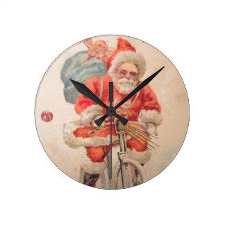 Santa on Bicylce Round Wall Clock
