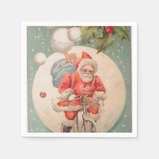 Santa on Bicylce Napkin