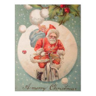 Santa on Bicylce Postcard