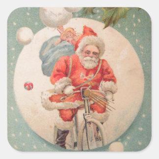 Santa on Bicylce Square Sticker