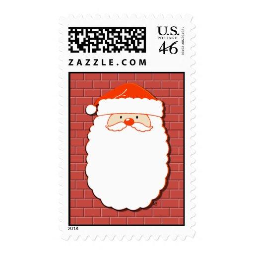 Santa on Chimney Postage