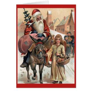Santa on Donkey Vintage Christmas Card