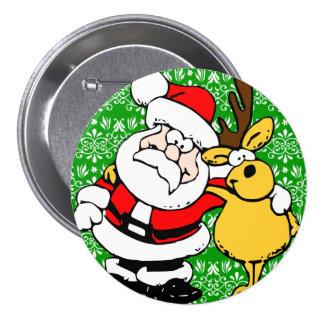 Santa on Green Background 3 Inch Round Button