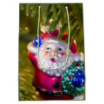 Santa on Green Medium Gift Bag