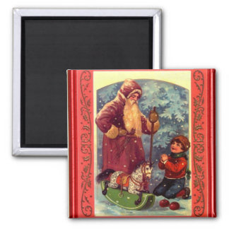 Santa on his journey 2 inch square magnet