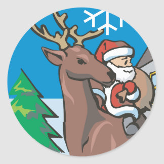 Santa on his raindeer with snow falling classic round sticker