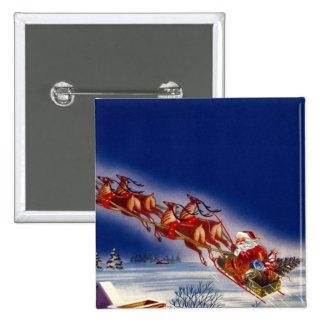 Santa on his Sleigh Pinback Button