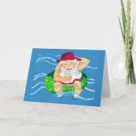 Santa on holiday - drinking lemonade card