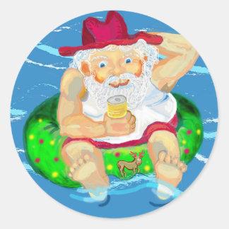 Santa on holidays classic round sticker