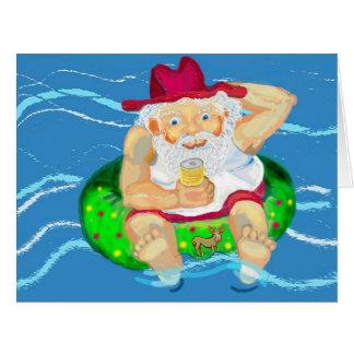 Santa on holidays in Australia Card