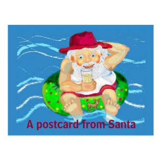 Santa on holidays postcard