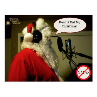 Santa on mic postcard