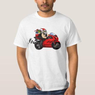 santa on motorcycle, sportbike delivering presents T-Shirt