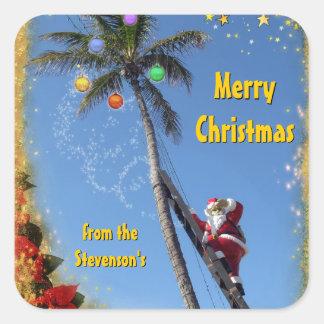 Santa on Palm Tree Square Sticker