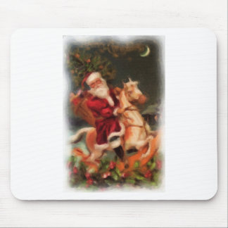 Santa on Rocking Horse Mouse Pad