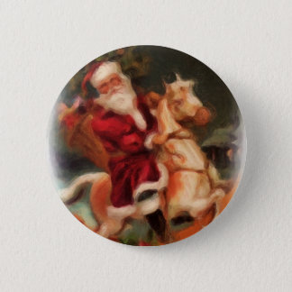 Santa on Rocking Horse Pinback Button