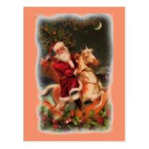 Santa on Rocking Horse Postcard