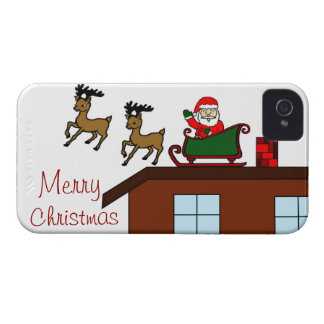 Santa on Roof with Reindeer iPhone 4 Phone Case