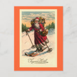 """""""Santa on Skis"""" Vintage French Card<br><div class=""""desc"""">Designed by Susan Epps Oliver. Vintage French image showing Santa Claus on skis. He looks very happy skiing down a mountain with a basket of fruit on his arm and a sack of toys on his back.</div>"""