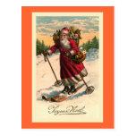 """Santa on Skis"" Vintage French Card"