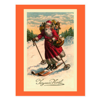 """Santa on Skis"" Vintage French Card"