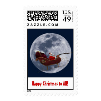 Santa on sleigh flying by the moon postage stamps