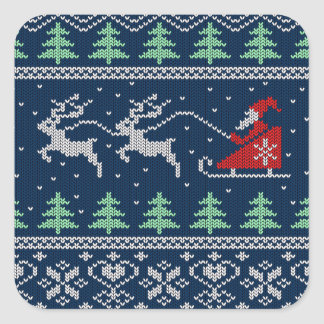 Santa On Sleigh Knitted Pattern Square Sticker