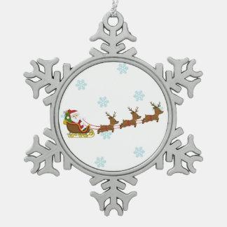 Santa on sleigh pewter snowflake ornament