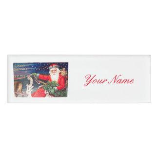 Santa on sleigh Thunder_Cove vintage Name Tag