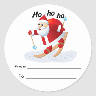 Santa on Snow Skis Round To/From Stickers