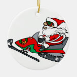 santa on snowmobile Double-Sided ceramic round christmas ornament
