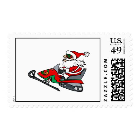 santa on snowmobile postage