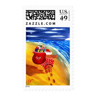 Santa On the Go Postage Stamps