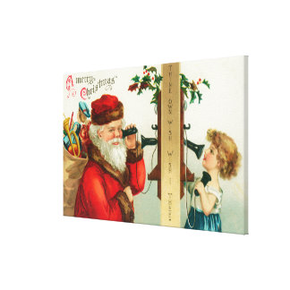 Santa on the Phone with Little Girl Canvas Print