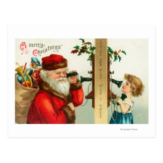 Santa on the Phone with Little Girl Postcard