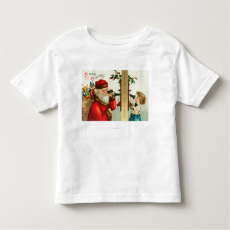 Santa on the Phone with Little Girl Toddler T-shirt
