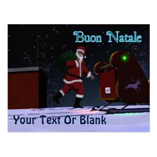 Santa On The Roof - Buon Natale Postcard