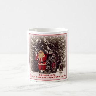 Santa on Tractor Christmas Mug