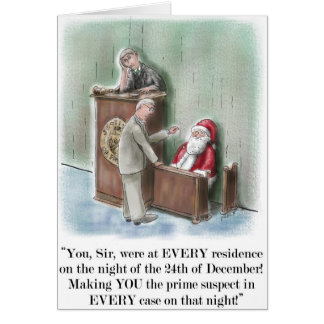 Santa On Witness Stand Christmas Card