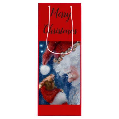 Santa Orangutan Christmas Wine Gift Bag