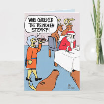 Santa orders a reindeer steak. card